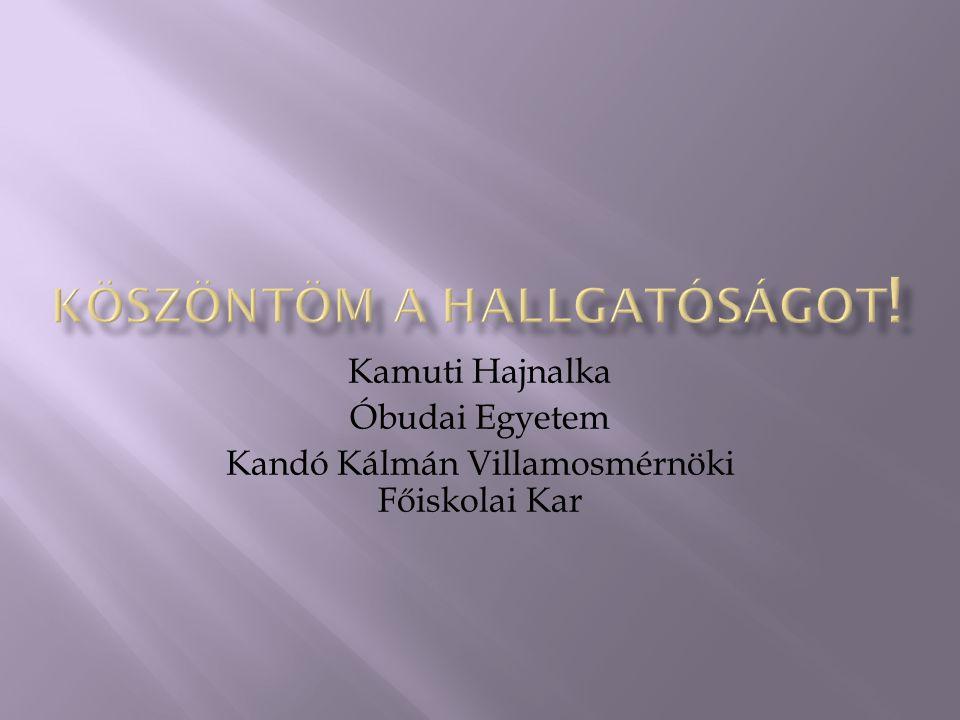 Kamuti Hajnalka Óbudai Egyetem Kandó Kálmán Villamosmérnöki Főiskolai Kar