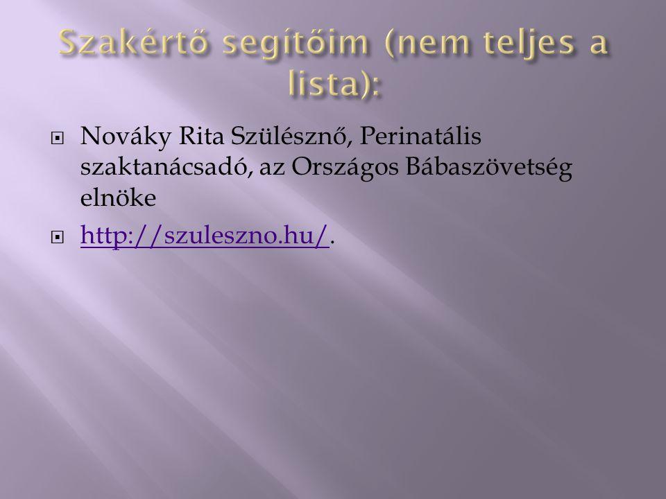  Nováky Rita Szülésznő, Perinatális szaktanácsadó, az Országos Bábaszövetség elnöke  http://szuleszno.hu/. http://szuleszno.hu/