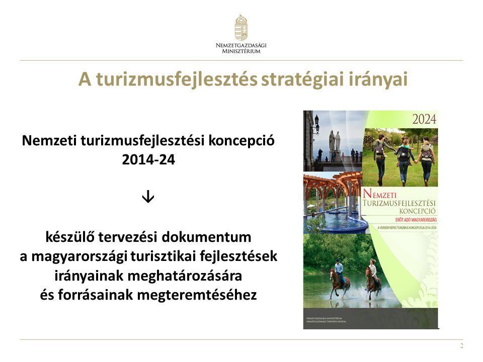 2 A turizmusfejlesztés stratégiai irányai Nemzeti turizmusfejlesztési koncepció 2014-24  készülő tervezési dokumentum a magyarországi turisztikai fejlesztések irányainak meghatározására és forrásainak megteremtéséhez