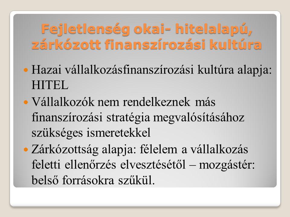 Fejletlenség okai- hitelalapú, zárkózott finanszírozási kultúra  Hazai vállalkozásfinanszírozási kultúra alapja: HITEL  Vállalkozók nem rendelkeznek