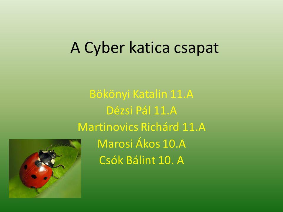 A Cyber katica csapat Bökönyi Katalin 11.A Dézsi Pál 11.A Martinovics Richárd 11.A Marosi Ákos 10.A Csók Bálint 10. A
