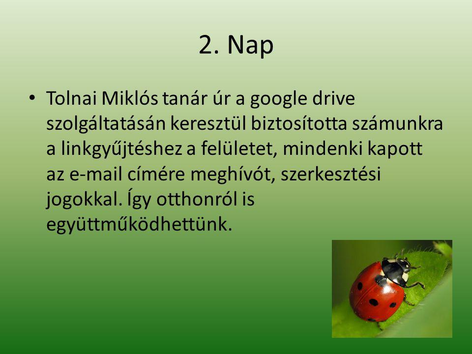 2. Nap • Tolnai Miklós tanár úr a google drive szolgáltatásán keresztül biztosította számunkra a linkgyűjtéshez a felületet, mindenki kapott az e-mail