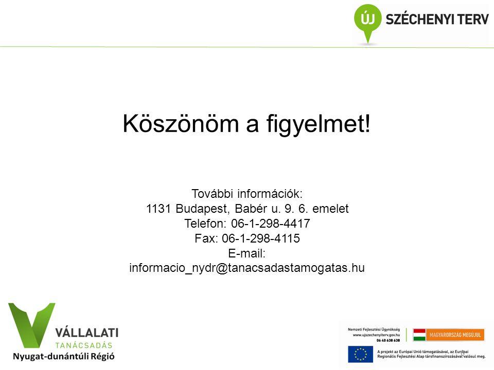 Köszönöm a figyelmet! További információk: 1131 Budapest, Babér u. 9. 6. emelet Telefon: 06-1-298-4417 Fax: 06-1-298-4115 E-mail: informacio_nydr@tana