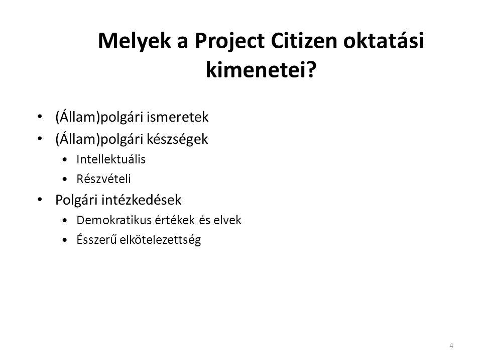 4 Melyek a Project Citizen oktatási kimenetei? • (Állam)polgári ismeretek • (Állam)polgári készségek •Intellektuális •Részvételi • Polgári intézkedése
