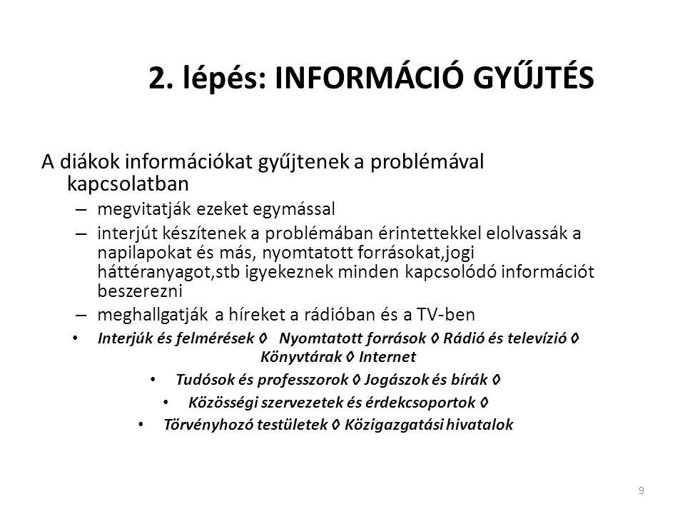 9 2. lépés: INFORMÁCIÓ GYŰJTÉS A diákok információkat gyűjtenek a problémával kapcsolatban – megvitatják ezeket egymással – interjút készítenek a prob
