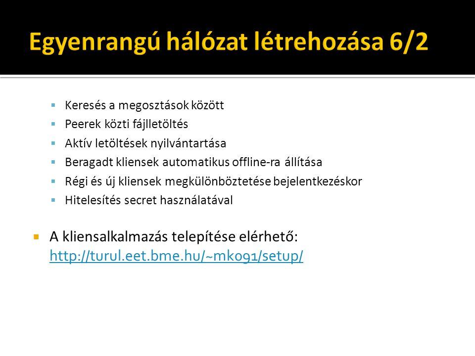  Keresés a megosztások között  Peerek közti fájlletöltés  Aktív letöltések nyilvántartása  Beragadt kliensek automatikus offline-ra állítása  Régi és új kliensek megkülönböztetése bejelentkezéskor  Hitelesítés secret használatával  A kliensalkalmazás telepítése elérhető: http://turul.eet.bme.hu/~mk091/setup/ http://turul.eet.bme.hu/~mk091/setup/