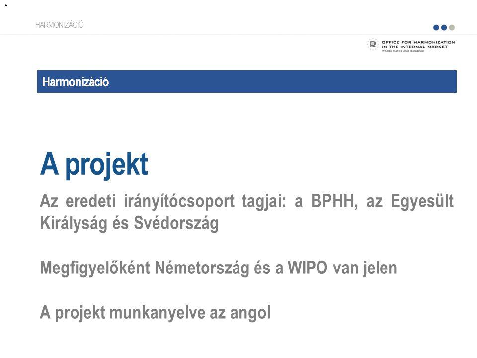 Harmonizáció A projekt HARMONIZÁCIÓ Az eredeti irányítócsoport tagjai: a BPHH, az Egyesült Királyság és Svédország Megfigyelőként Németország és a WIPO van jelen A projekt munkanyelve az angol 5