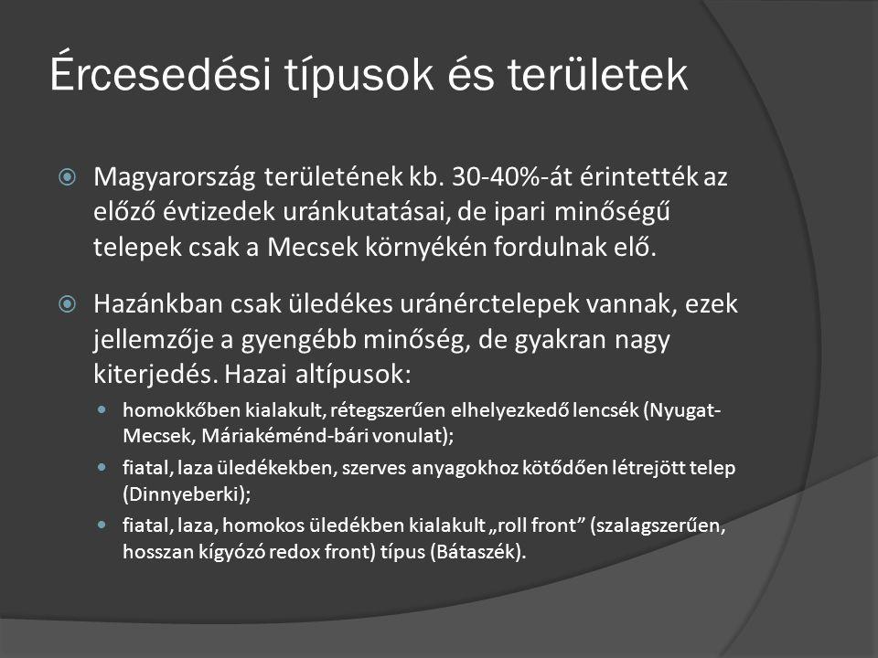 Ércesedési típusok és területek  Magyarország területének kb. 30-40%-át érintették az előző évtizedek uránkutatásai, de ipari minőségű telepek csak a