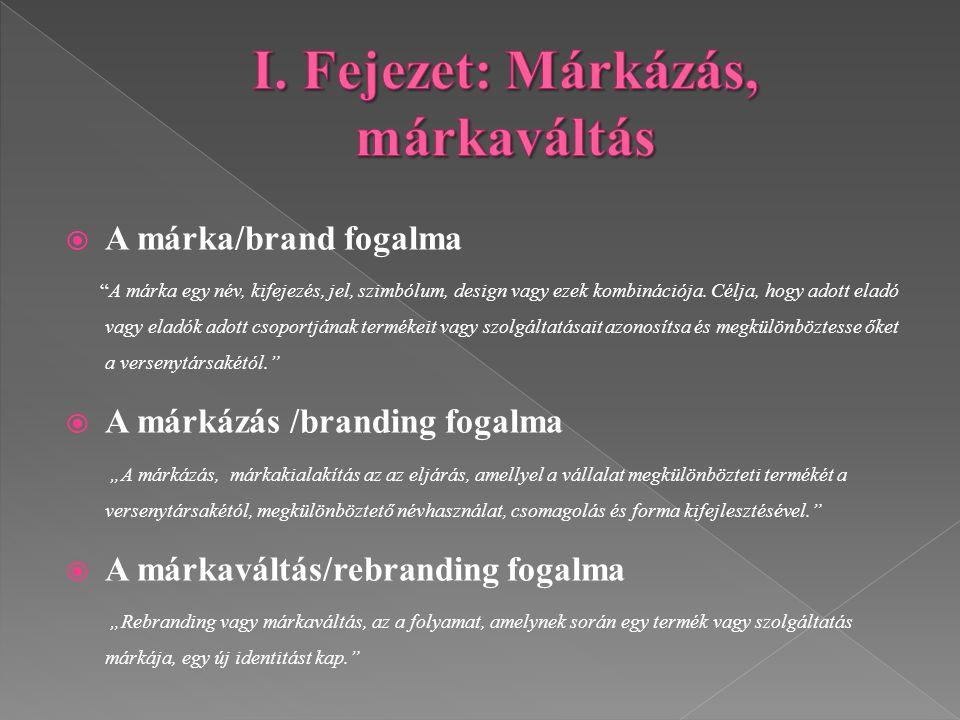 """ A márka/brand fogalma """"A márka egy név, kifejezés, jel, szimbólum, design vagy ezek kombinációja. Célja, hogy adott eladó vagy eladók adott csoportj"""