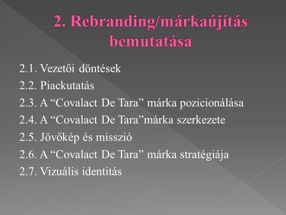 """2.1. Vezetői döntések 2.2. Piackutatás 2.3. A """"Covalact De Tara"""" márka pozicionálása 2.4. A """"Covalact De Tara""""márka szerkezete 2.5. Jövőkép és misszió"""