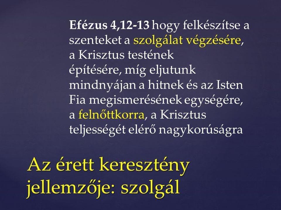 Efézus 4,12-13 hogy felkészítse a szenteket a szolgálat végzésére, a Krisztus testének építésére, míg eljutunk mindnyájan a hitnek és az Isten Fia meg