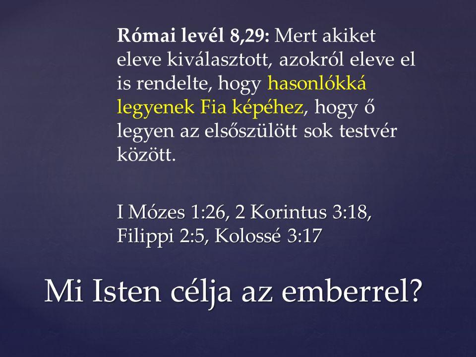 Római levél 8,29: Mert akiket eleve kiválasztott, azokról eleve el is rendelte, hogy hasonlókká legyenek Fia képéhez, hogy ő legyen az elsőszülött sok