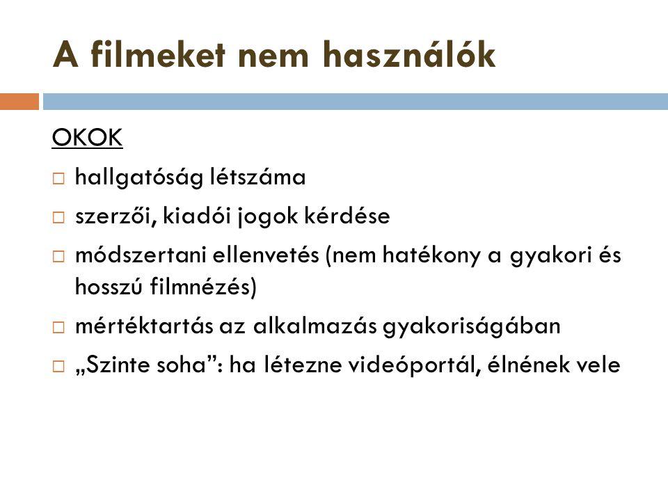 A filmeket nem használók OKOK  hallgatóság létszáma  szerzői, kiadói jogok kérdése  módszertani ellenvetés (nem hatékony a gyakori és hosszú filmné