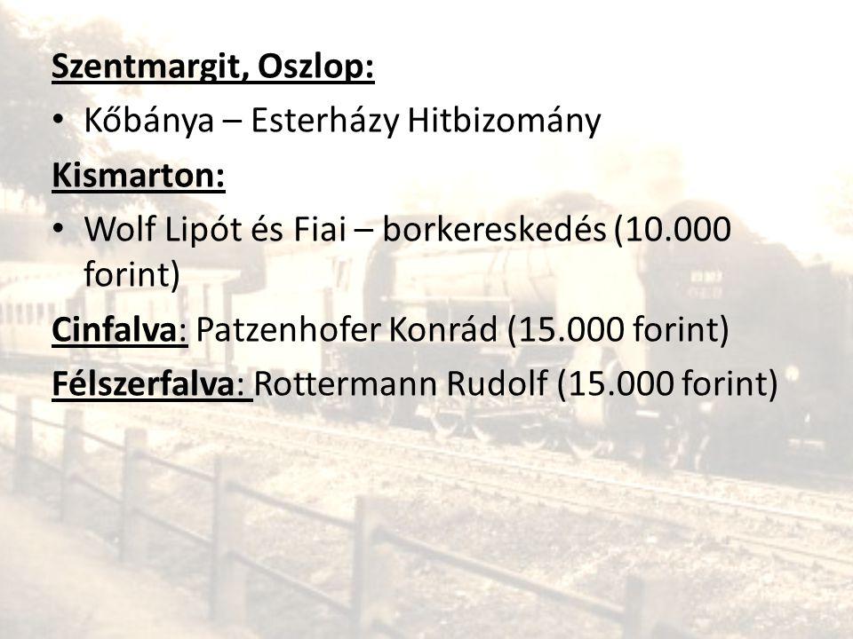Szentmargit, Oszlop: • Kőbánya – Esterházy Hitbizomány Kismarton: • Wolf Lipót és Fiai – borkereskedés (10.000 forint) Cinfalva: Patzenhofer Konrád (1