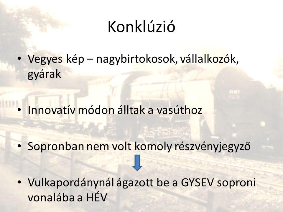 Konklúzió • Vegyes kép – nagybirtokosok, vállalkozók, gyárak • Innovatív módon álltak a vasúthoz • Sopronban nem volt komoly részvényjegyző • Vulkapor