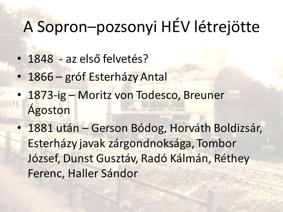 A Sopron–pozsonyi HÉV létrejötte • 1848 - az első felvetés? • 1866 – gróf Esterházy Antal • 1873-ig – Moritz von Todesco, Breuner Ágoston • 1881 után