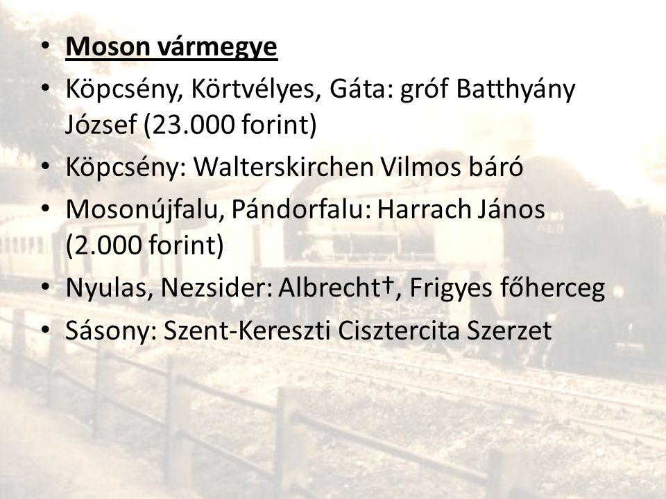 • Moson vármegye • Köpcsény, Körtvélyes, Gáta: gróf Batthyány József (23.000 forint) • Köpcsény: Walterskirchen Vilmos báró • Mosonújfalu, Pándorfalu: