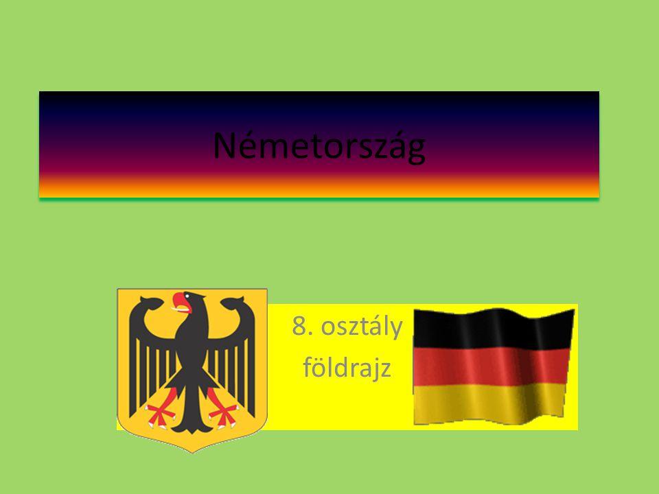 Helyzete,fekvése,határai, éghajlata • Közép-Európa ÉNY - i részén fekszik • Területe: 349 520 km ² • Népessége:82,4 millió fő • Népsűrűsége: 235,7 fő/ km² • Nyelve: német • Fővárosa: Berlin (3,8 millió fő) • GDP :28 260 USD/fő • Fekvése kedvező: két tenger határolja, a kereskedelmi útvonalak keresztül futnak.