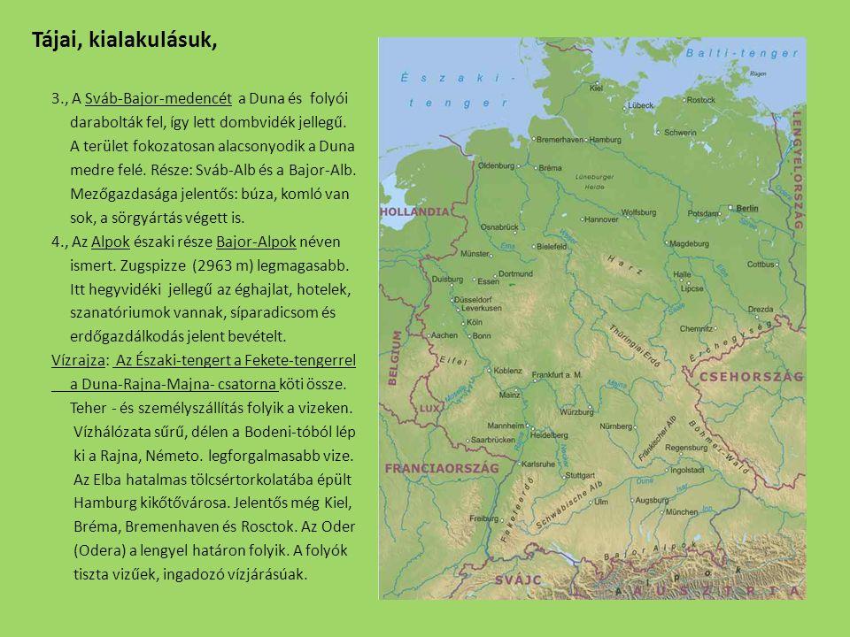 Az éghajlat, a domborzat, a talaj és a mezőgazdaság kapcsolata: Germán- alföld: Német- középhg.
