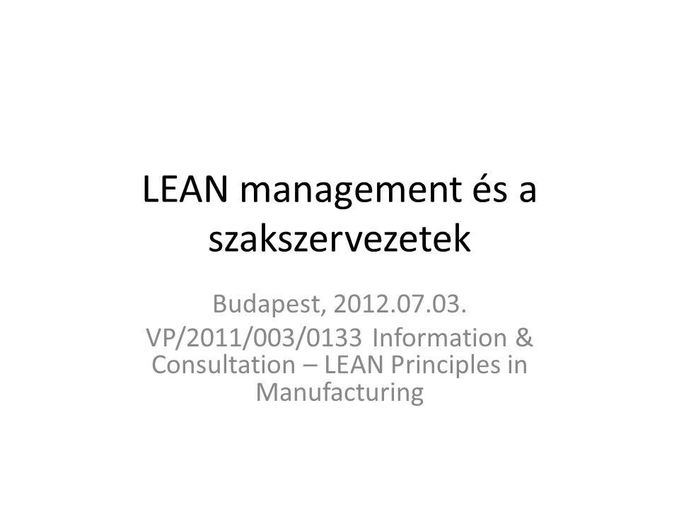 LEAN management és a szakszervezetek Budapest, 2012.07.03.