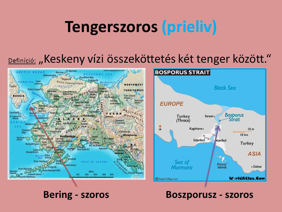 """Tengerszoros (prieliv) Definíció: """"Keskeny vízi összeköttetés két tenger között."""" Bering - szoros Boszporusz - szoros"""