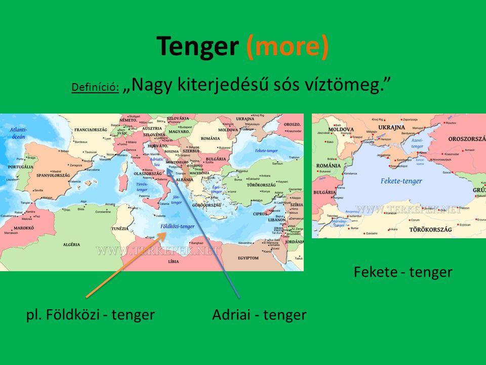 """Tenger (more) Definíció: """"Nagy kiterjedésű sós víztömeg."""" Fekete - tenger pl. Földközi - tenger Adriai - tenger"""