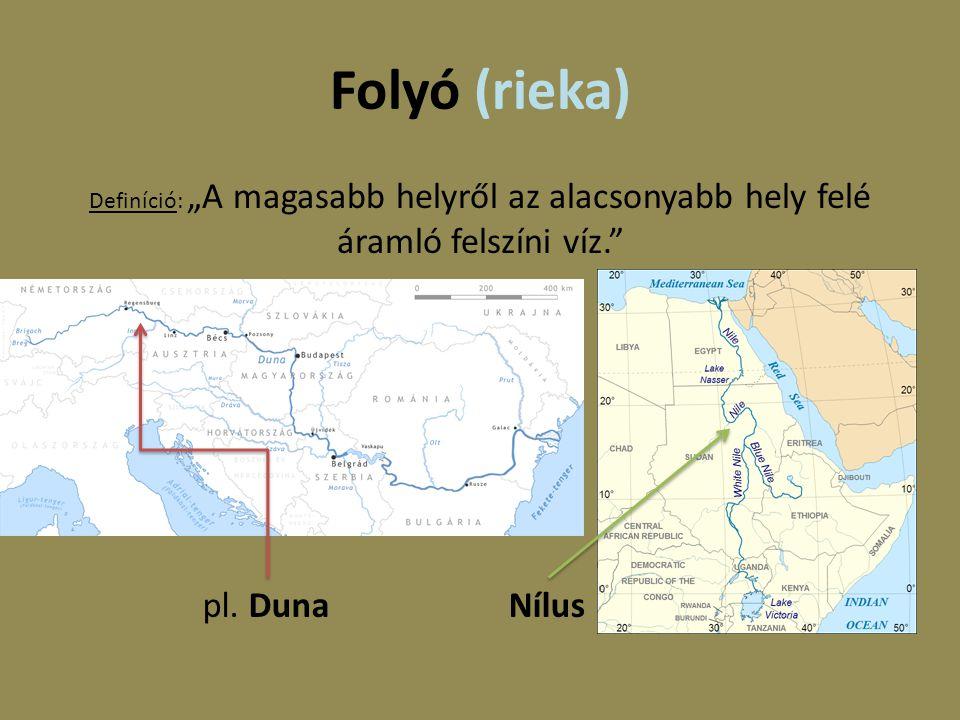 """Folyó (rieka) Definíció: """"A magasabb helyről az alacsonyabb hely felé áramló felszíni víz."""" pl. Duna Nílus"""