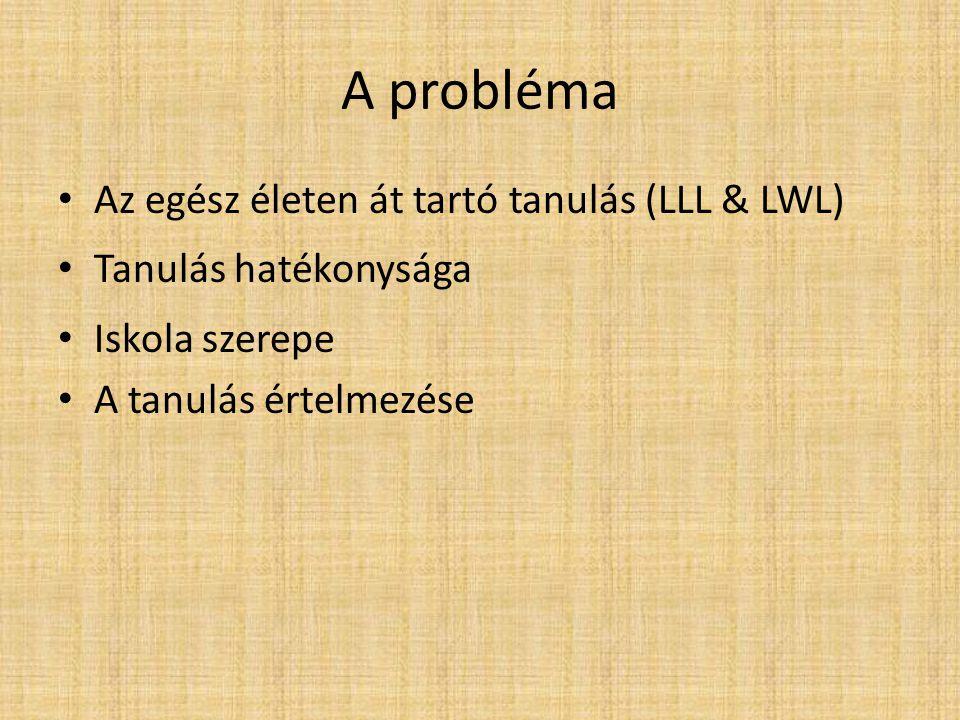 A probléma • Az egész életen át tartó tanulás (LLL & LWL) • Tanulás hatékonysága • Iskola szerepe • A tanulás értelmezése