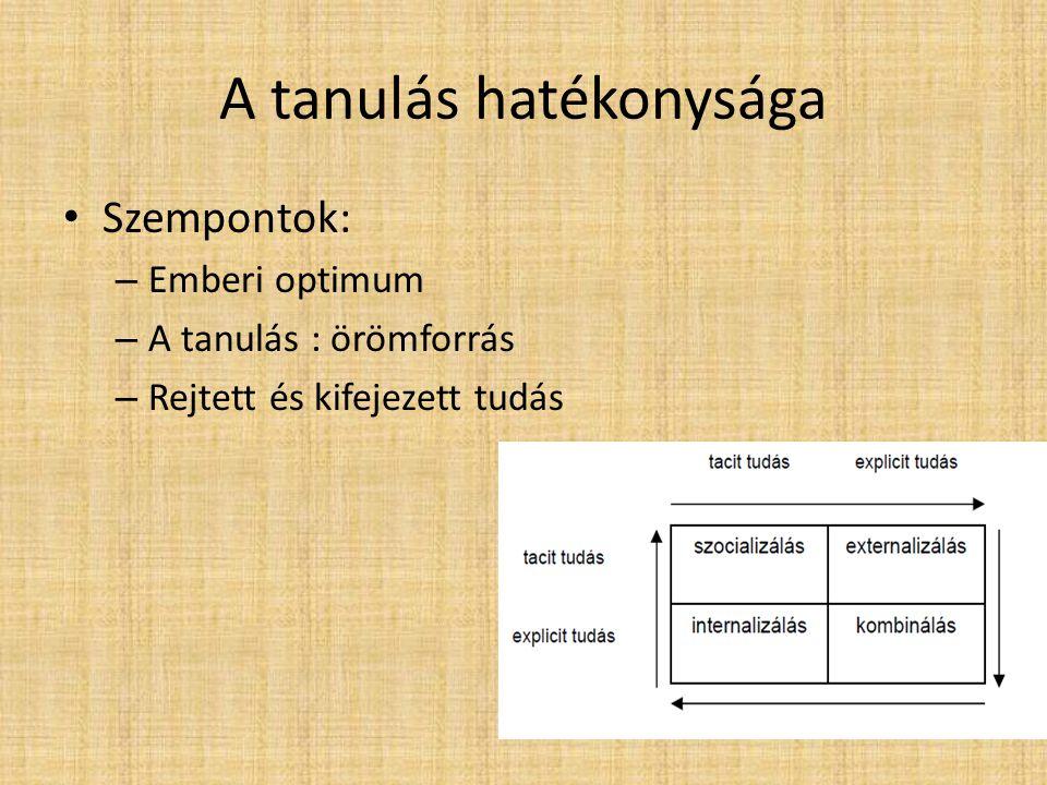 A tanulás hatékonysága • Szempontok: – Emberi optimum – A tanulás : örömforrás – Rejtett és kifejezett tudás