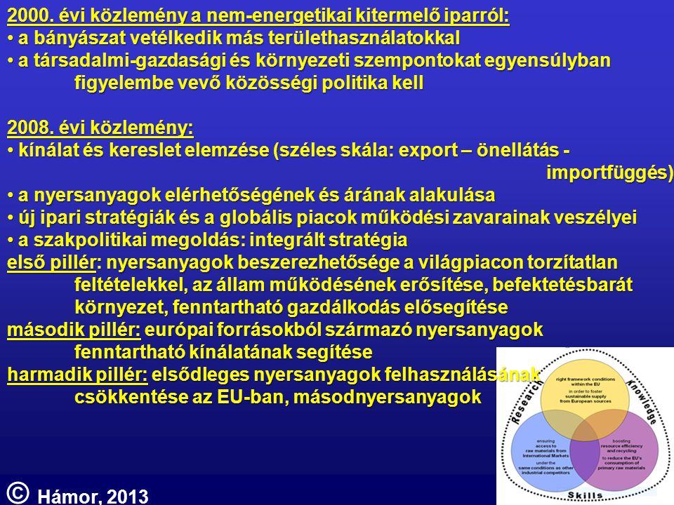 2000. évi közlemény a nem-energetikai kitermelő iparról: • a bányászat vetélkedik más területhasználatokkal • a társadalmi-gazdasági és környezeti sze