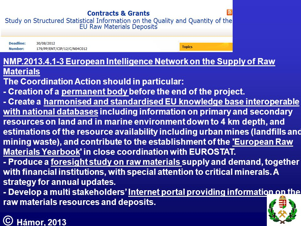 NMP.2013.4.1-3 European Intelligence Network on the Supply of Raw Materials The Coordination Action should in particular: - Creation of a permanent body before the end of the project.
