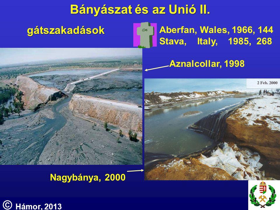 Aznalcollar, 1998 Nagybánya, 2000 gátszakadások Aberfan, Wales, 1966, 144 Stava, Italy, 1985, 268 Bányászat és az Unió II. © Hámor, 2013