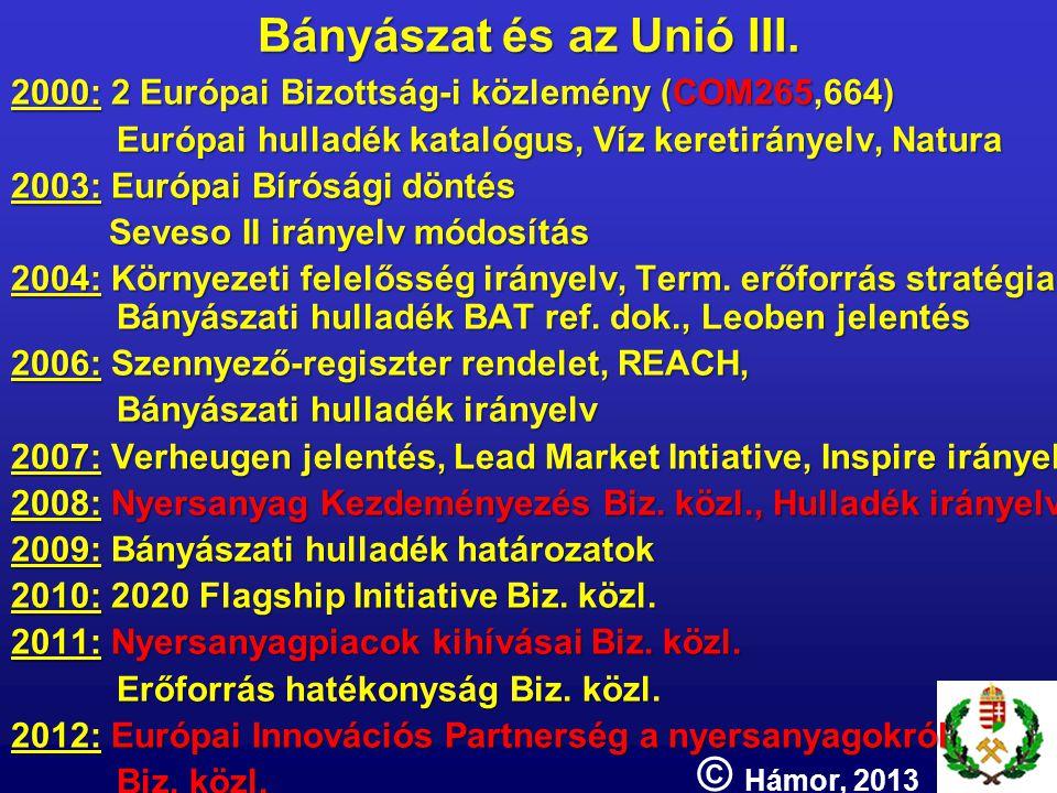 Bányászat és az Unió III. 2000: 2 Európai Bizottság-i közlemény (COM265,664) Európai hulladék katalógus, Víz keretirányelv, Natura 2003: Európai Bírós