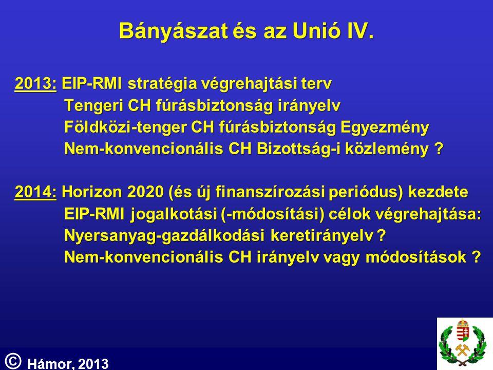 Bányászat és az Unió IV. 2013: EIP-RMI stratégia végrehajtási terv Tengeri CH fúrásbiztonság irányelv Földközi-tenger CH fúrásbiztonság Egyezmény Nem-