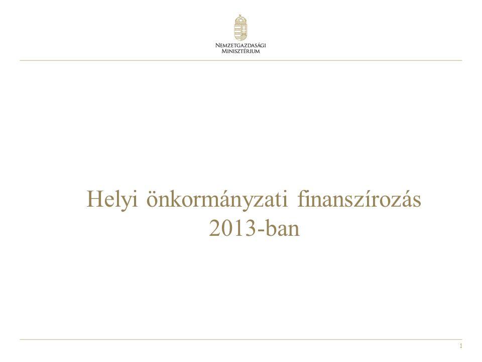 1 Helyi önkormányzati finanszírozás 2013-ban