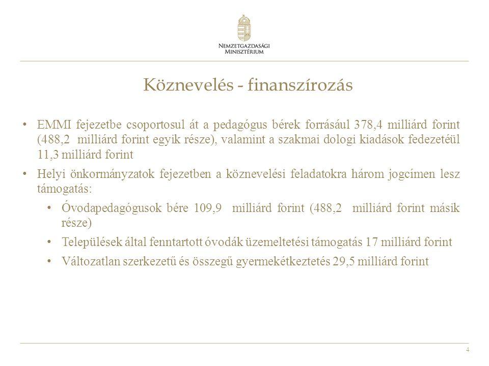 4 Köznevelés - finanszírozás • EMMI fejezetbe csoportosul át a pedagógus bérek forrásául 378,4 milliárd forint (488,2 milliárd forint egyik része), valamint a szakmai dologi kiadások fedezetéül 11,3 milliárd forint • Helyi önkormányzatok fejezetben a köznevelési feladatokra három jogcímen lesz támogatás: • Óvodapedagógusok bére 109,9 milliárd forint (488,2 milliárd forint másik része) • Települések által fenntartott óvodák üzemeltetési támogatás 17 milliárd forint • Változatlan szerkezetű és összegű gyermekétkeztetés 29,5 milliárd forint