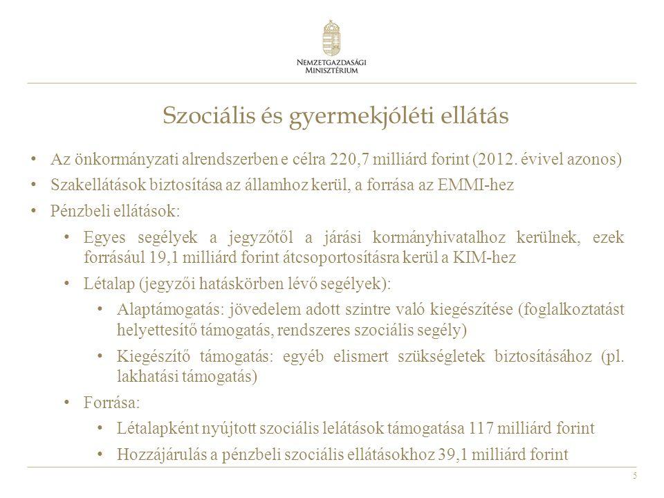 5 Szociális és gyermekjóléti ellátás • Az önkormányzati alrendszerben e célra 220,7 milliárd forint (2012.