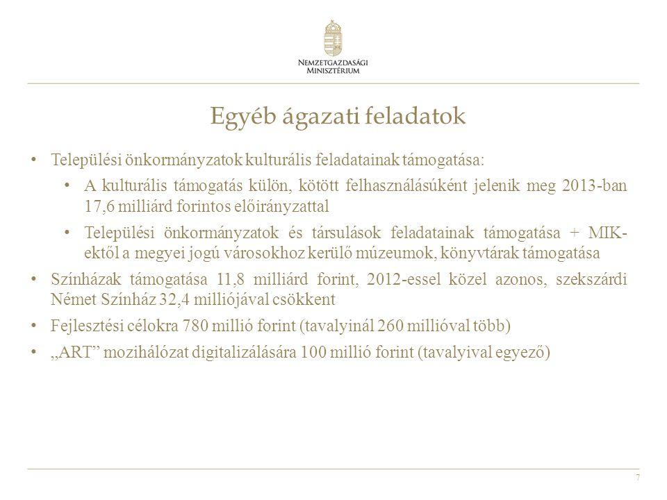"""7 Egyéb ágazati feladatok • Települési önkormányzatok kulturális feladatainak támogatása: • A kulturális támogatás külön, kötött felhasználásúként jelenik meg 2013-ban 17,6 milliárd forintos előirányzattal • Települési önkormányzatok és társulások feladatainak támogatása + MIK- ektől a megyei jogú városokhoz kerülő múzeumok, könyvtárak támogatása • Színházak támogatása 11,8 milliárd forint, 2012-essel közel azonos, szekszárdi Német Színház 32,4 milliójával csökkent • Fejlesztési célokra 780 millió forint (tavalyinál 260 millióval több) • """"ART mozihálózat digitalizálására 100 millió forint (tavalyival egyező)"""
