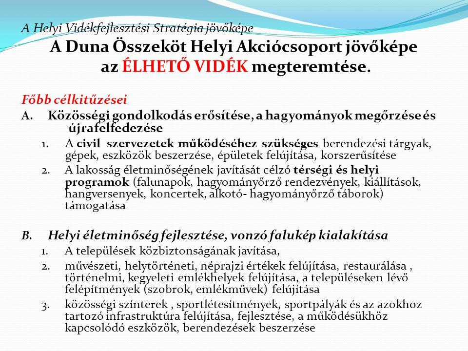 A Helyi Vidékfejlesztési Stratégia jövőképe A Duna Összeköt Helyi Akciócsoport jövőképe az ÉLHETŐ VIDÉK megteremtése. Főbb célkitűzései A. Közösségi g