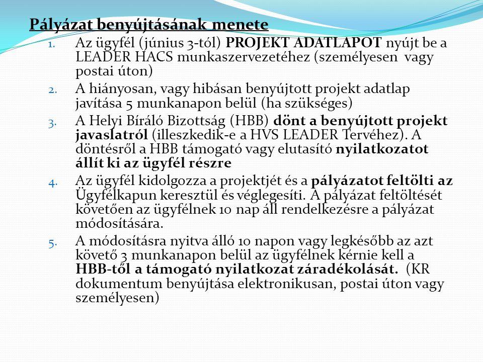 Pályázat benyújtásának menete 1. Az ügyfél (június 3-tól) PROJEKT ADATLAPOT nyújt be a LEADER HACS munkaszervezetéhez (személyesen vagy postai úton) 2