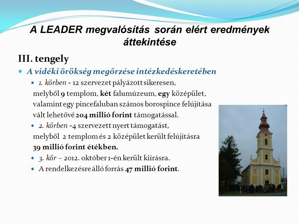 A LEADER megvalósítás során elért eredmények áttekintése III. tengely  A vidéki örökség megőrzése intézkedéskeretében  1. körben - 12 szervezet pály