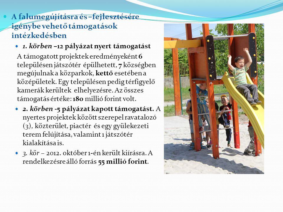  A falumegújításra és –fejlesztésére igénybe vehető támogatások intézkedésben  1. körben –12 pályázat nyert támogatást A támogatott projektek eredmé