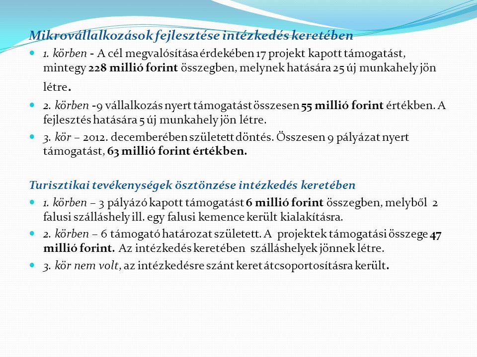 Mikrovállalkozások fejlesztése intézkedés keretében  1. körben - A cél megvalósítása érdekében 17 projekt kapott támogatást, mintegy 228 millió forin