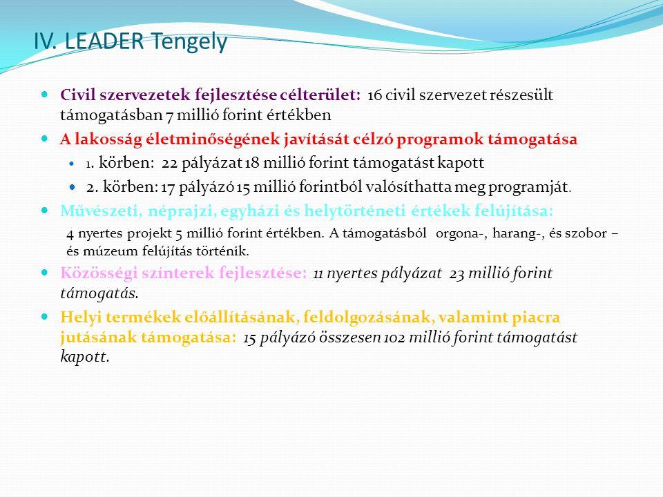IV. LEADER Tengely  Civil szervezetek fejlesztése célterület: 16 civil szervezet részesült támogatásban 7 millió forint értékben  A lakosság életmin