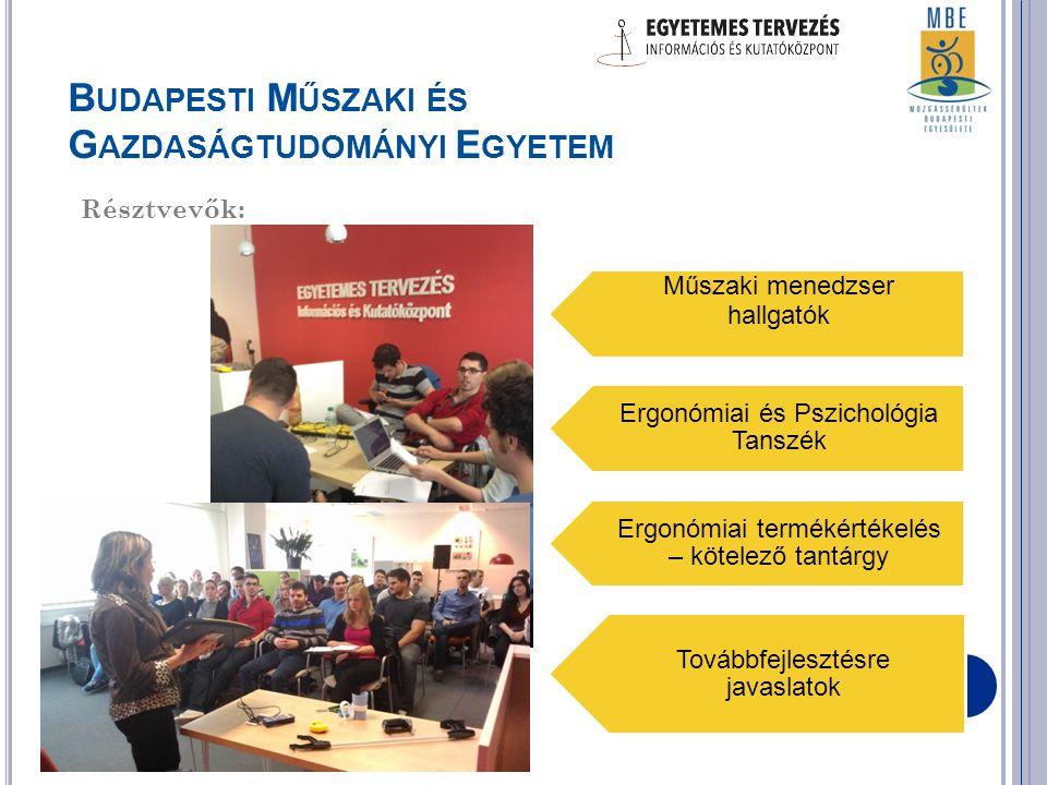 Műszaki menedzser hallgatók Ergonómiai és Pszichológia Tanszék Ergonómiai termékértékelés – kötelező tantárgy Továbbfejlesztésre javaslatok B UDAPESTI