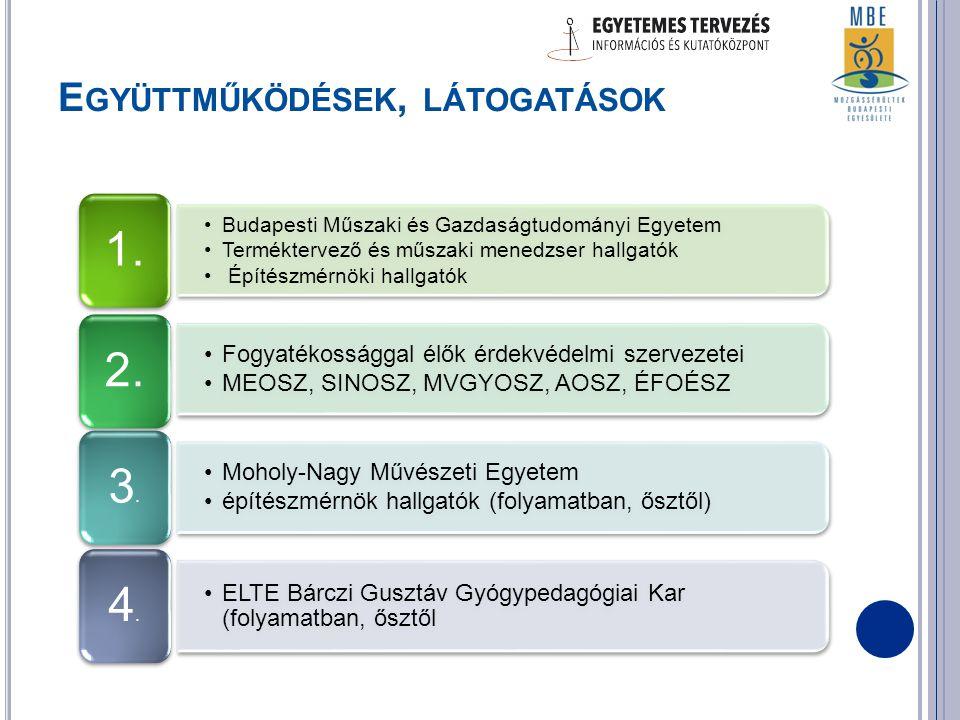 E GYÜTTMŰKÖDÉSEK, LÁTOGATÁSOK •Budapesti Műszaki és Gazdaságtudományi Egyetem •Terméktervező és műszaki menedzser hallgatók • Építészmérnöki hallgatók