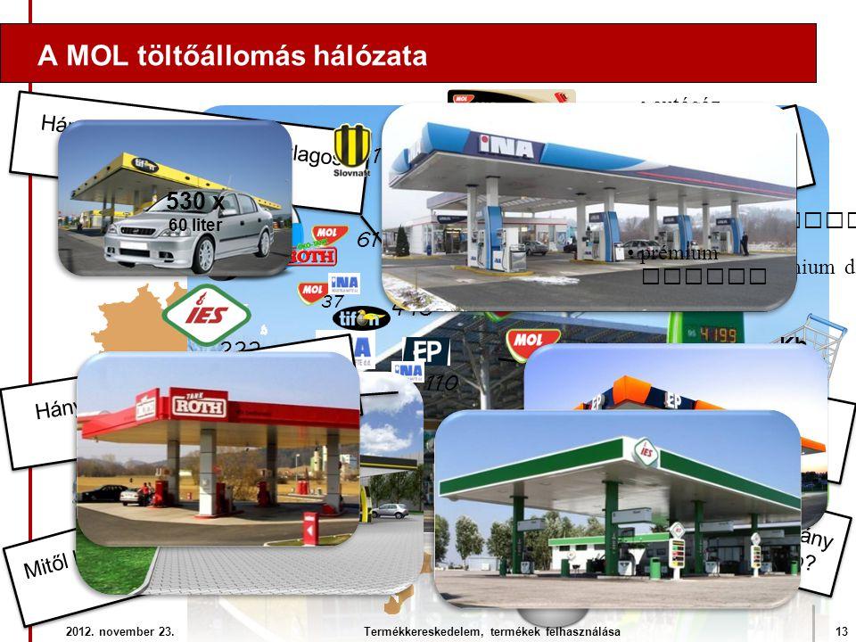 A MOL töltőállomás hálózata 2012. november 23.13Termékkereskedelem, termékek felhasználása Hány féle üzemanyag kapható? •prémium dízel •benzin •dízel