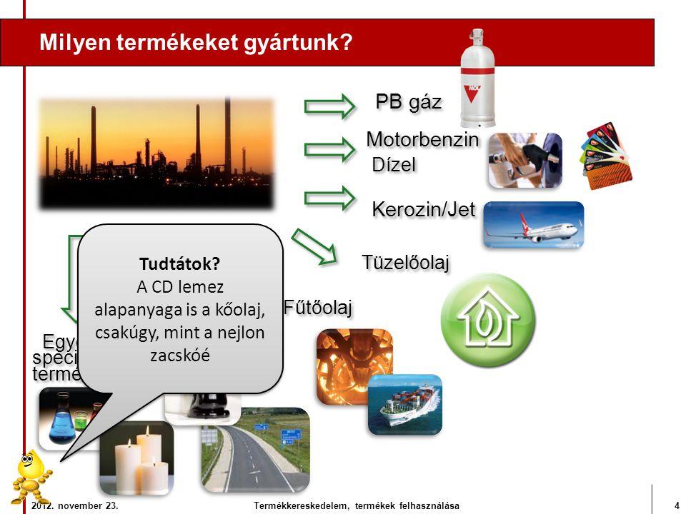 Milyen termékeket gyártunk? PB gáz Motorbenzin Dízel Fűtőolaj Tüzelőolaj Kerozin/Jet Bitumen Egyéb speciális termékek Egyéb speciális termékek 2012. n