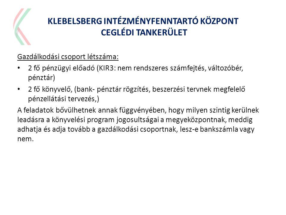 Gazdálkodási csoport létszáma: • 2 fő pénzügyi előadó (KIR3: nem rendszeres számfejtés, változóbér, pénztár) • 2 fő könyvelő, (bank- pénztár rögzítés,