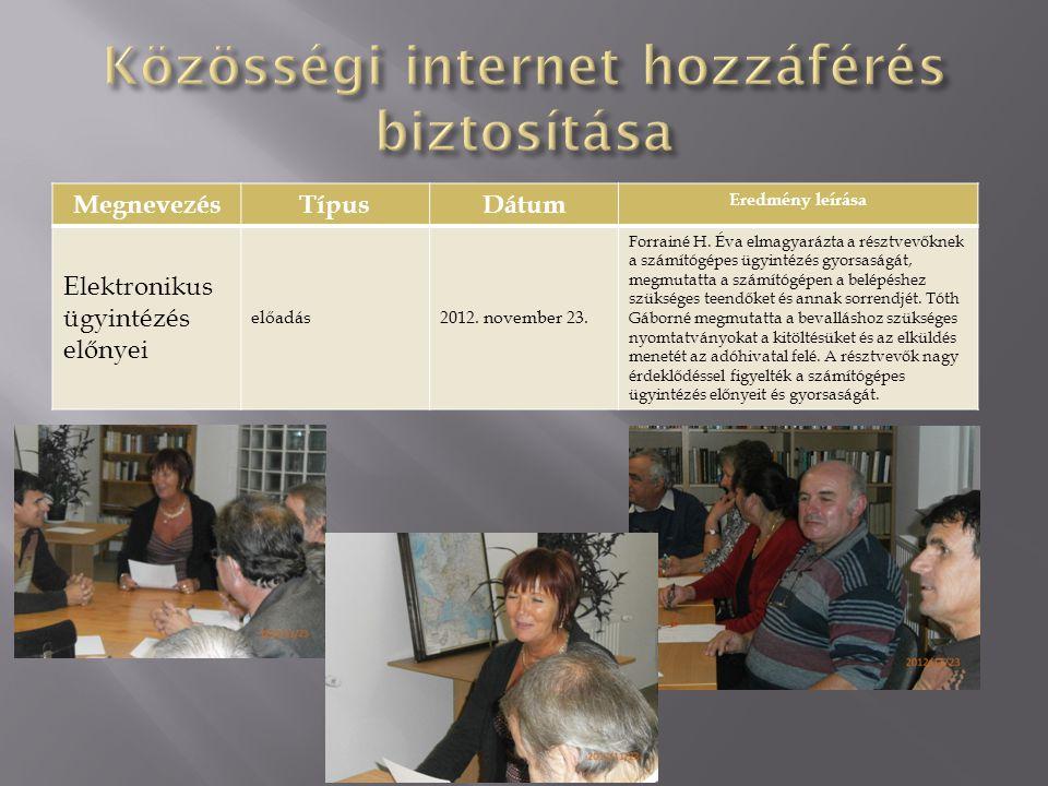 MegnevezésTípusDátum Eredmény leírása Elektronikus ügyintézés előnyei előadás2012. november 23. Forrainé H. Éva elmagyarázta a résztvevőknek a számító